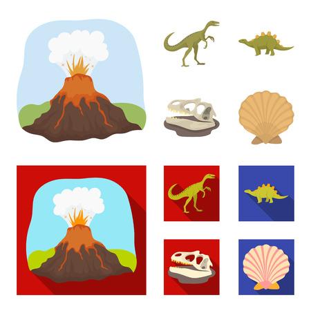 Volcanic eruption, gallimimus, stegosaurus, dinosaur skull. Dinosaur and prehistoric period set collection icons in cartoon, flat style vector symbol stock illustration
