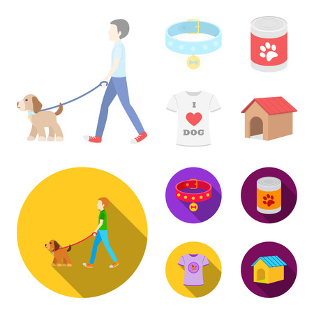 A man walks with a dog, a collar with a medal, food, a T-shirt I love dog.Dog set collection icons in cartoon,flat style vector symbol stock illustration web.