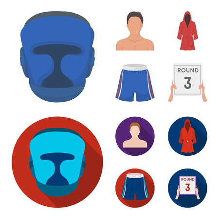 Boxing, sport, mask, helmet.Boxing set collection icons in cartoon,flat style vector symbol stock illustration web. Çizim