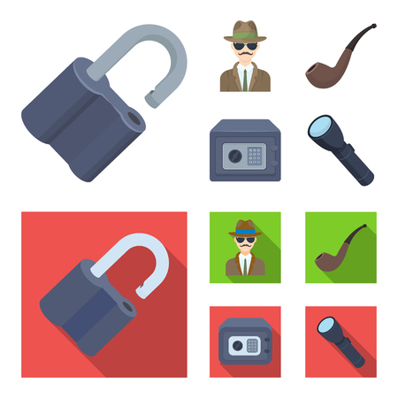 Lock hacked, safe, smoking pipe, private detective.Detective set collection icons in cartoon,flat style vector symbol stock illustration web.