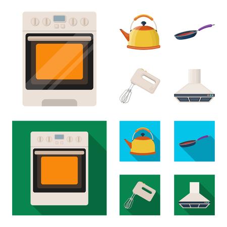 Fumetto dell'attrezzatura della cucina, icone piane nella raccolta dell'insieme per progettazione. Illustrazione delle azione di simbolo di vettore degli accessori e della cucina. Archivio Fotografico - 97677883