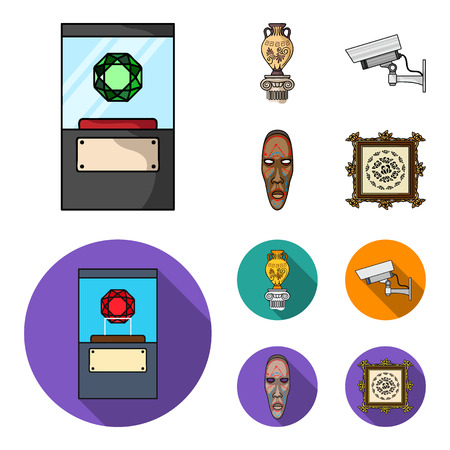 A diamond, a vase on a stand, a surveillance camera, an African mask. Museum set collection icons in cartoon,flat style vector symbol stock illustration web.