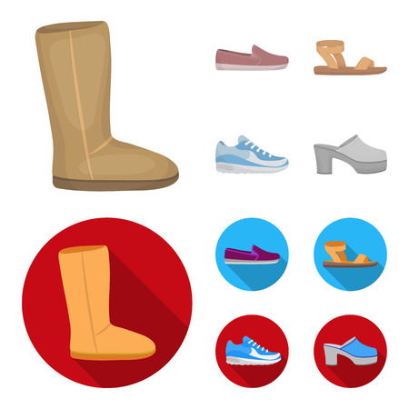 Beige ugg boots with fur, brown loafers with a white sole, sandals with a fastener, white and blue sneakers. Shoes set collection icons in cartoon,flat style vector symbol stock illustration web.