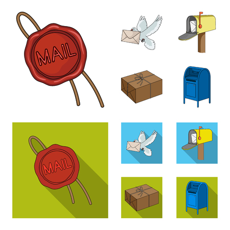 Mail and postman set collection icons in cartoon flat style.