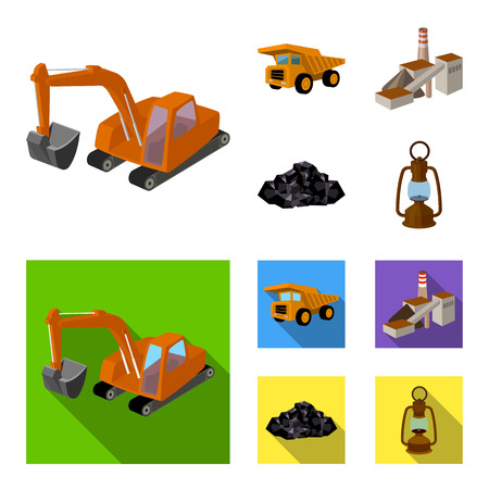Mining industry set collection icons
