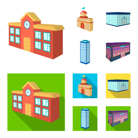 Bank office, skyscraper, city hall building, college building. Architectural and structure set collection icons in cartoon, flat style vector symbol stock illustration