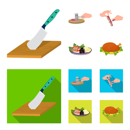 Cutlass on a cutting board, hammer for chops, cooking bacon, eating fish and vegetables. Eating and cooking set collection icons in cartoon,flat style vector symbol stock illustration web. Illustration