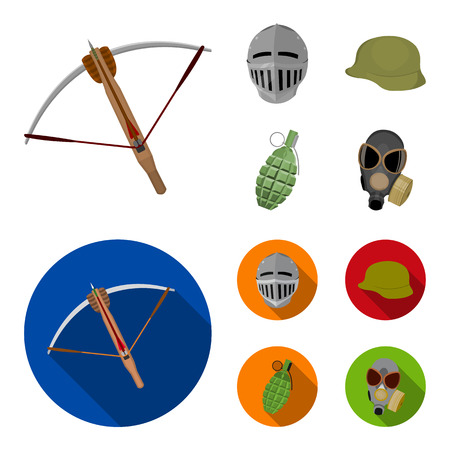 Crossbow, medieval helmet, soldier helmet, hand grenade. Weapons set collection icons in cartoon,flat style vector symbol stock illustration web.
