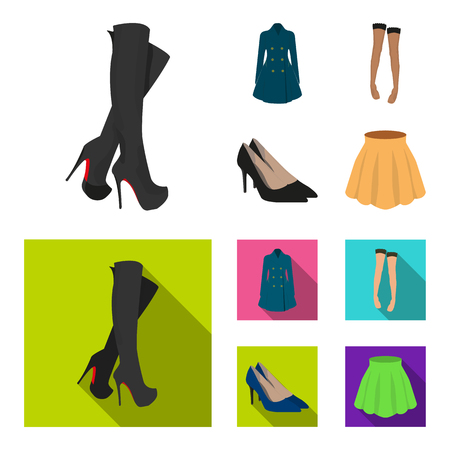 Women's shoes and clothes set collection icons in cartoon flat style
