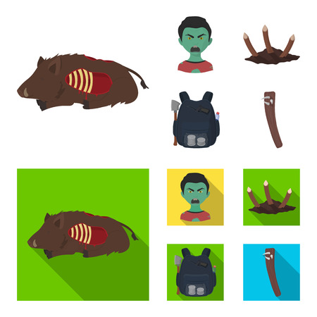 Zombies and Attributes cartoon,flat icons in set collection for design. Dead man vector symbol stock web illustration.