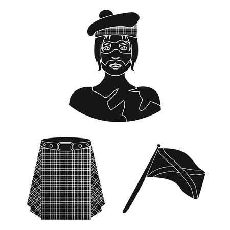 Country Scotland black icons in set collection for design. Sightseeing, culture and tradition vector symbol stock  illustration. Vettoriali