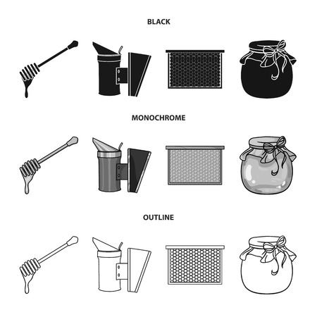 A frame with honeycombs, a ladle of honey, a fumigator from bees, a jar of honey.Apiary set collection icons in black,monochrome,outline style vector symbol stock illustration .