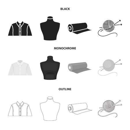A man shirt, a mannequin, a roll of fabric, a ball of threads and knitting needles. Atelier set collection icons.