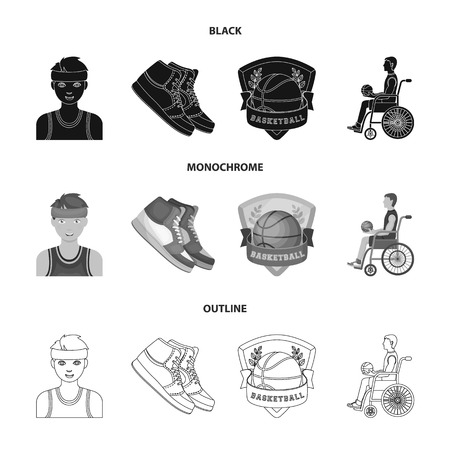 Basketball and attributes black,monochrome,outline icons in set collection for design.Basketball player and equipment vector symbol stock  illustration.