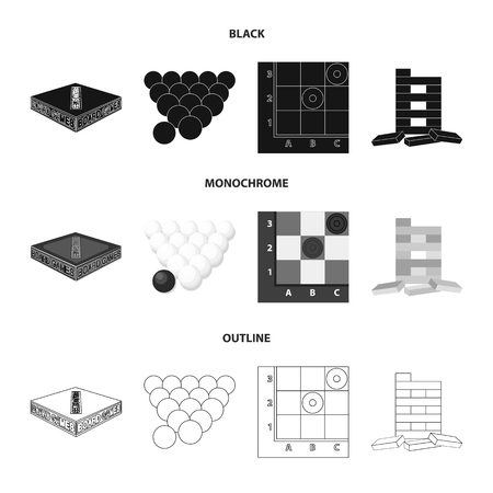 Board game black,monochrome,outline icons in set collection for design.