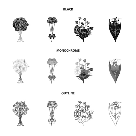 A bouquet of fresh flowers black,monochrome,outline icons in set collection for design. Various bouquets vector symbol stock  illustration. Illustration