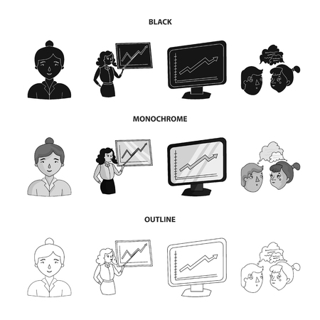 Businesswoman, growth charts, brainstorming.Business-conference and negotiations set collection icons in black,monochrome,outline style vector symbol stock illustration .
