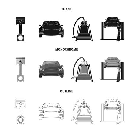 Voiture sur ascenseur, piston et pompe noir, monochrome, contour des icônes dans la collection de jeu pour la conception. Vecteurs