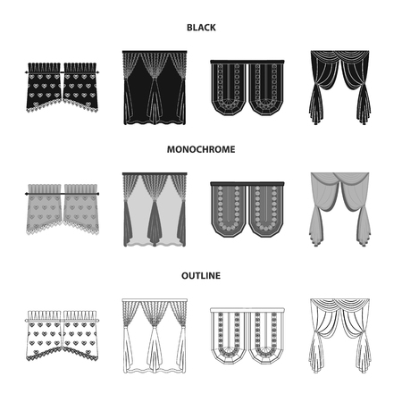 Curtains, stick, cornices, and other  icon in black,monochrome,outline style.Bow, fabric tulle icons in set collection