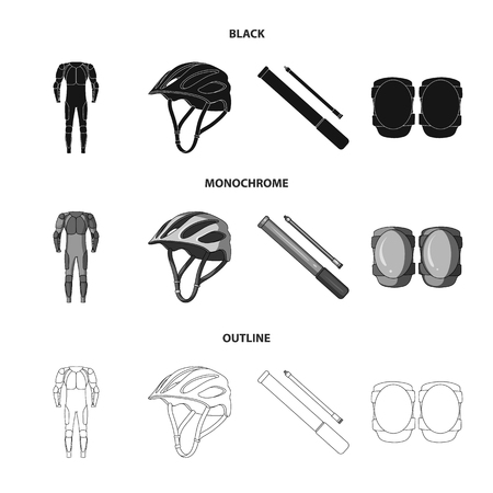 Full-body suit for the rider, helmet, pump with a hose, knee protectors.Cyclist outfit set collection icons. Çizim