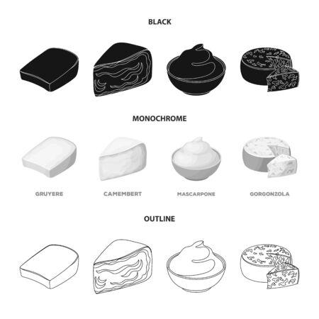 Gruyere, camembert, mascarpone, gorgonzola.Different types of cheese set collection icons in black,monochrome,outline style vector symbol stock illustration . Illusztráció