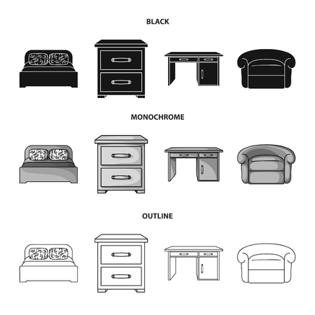 Interior, design, bed, bedroom .Furniture and home interiorset collection icons in black,monochrome,outline style vector symbol stock illustration . Stock Illustratie