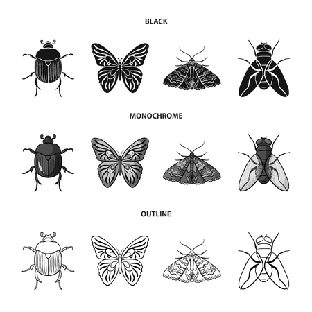 Wrecker, parasite, nature, butterfly .Insects set collection icons in black,monochrome,outline style vector symbol stock illustration .