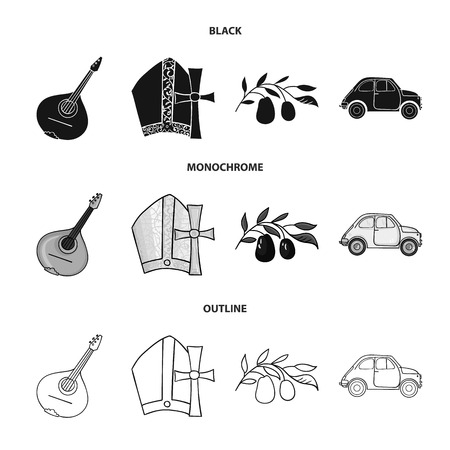 Mandolin, papa, olive, retro auto.Italy country set collection icons in black,monochrome,outline style vector symbol stock illustration .