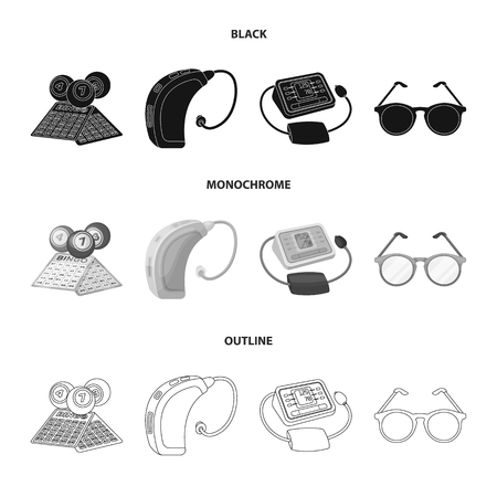 Lottery, hearing aid, tonometer, glasses.Old age set collection icons in black,monochrome,outline style vector symbol stock illustration . Illustration