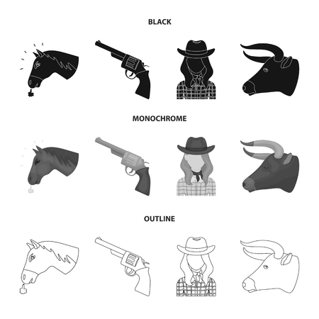 Head of a horse, a bull head, a revolver, a cowboy girl. Rodeo set collection icons in black,monochrome,outline style vector symbol stock illustration web. Illustration