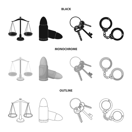 Prison set collection icons in black,monochrome,outline style vector symbol stock illustration web.