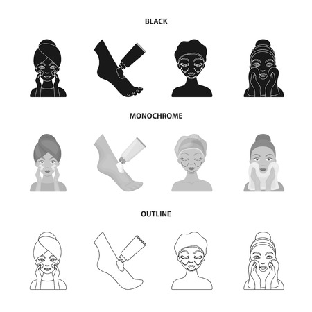 Face care, plastic surgery, face wiping, moisturizing the feet. Skin Care set collection icons in black,monochrome,outline style vector symbol stock illustration web.