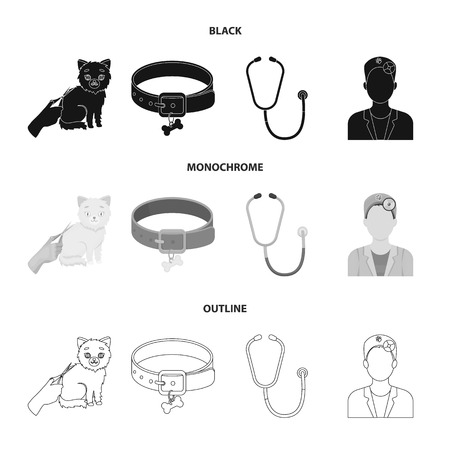 Collar, bone, cat, haircut. Vet Clinic set collection icons in black, monochrome, outline style vector symbol stock illustration