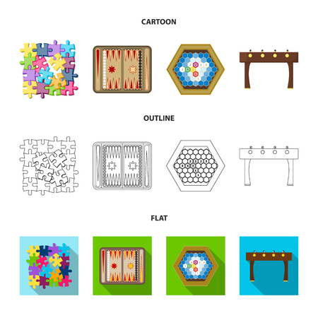 Board game cartoon,outline,flat icons in set collection for design. Game and entertainment vector symbol stock web illustration. Stock Vector - 97775803
