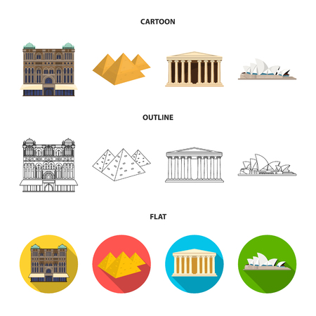 Sights of different countries cartoon, outline, flat icons in set collection for design. Famous building vector symbol stock illustration.
