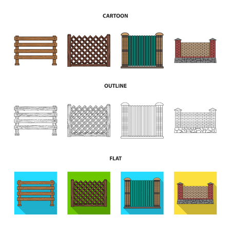 A fence of metal and bricks,wooden palisade. A different fence set collection icons in cartoon,outline,flat style vector symbol stock illustration web.
