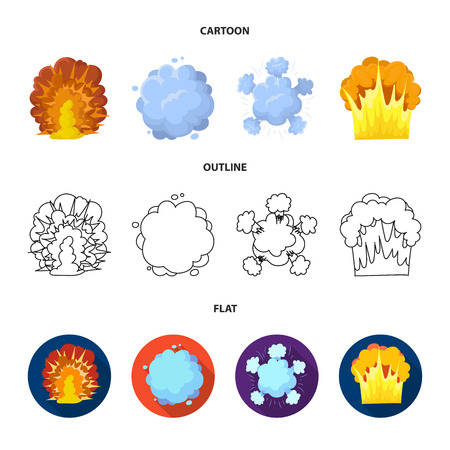Flame, sparks, hydrogen fragments, atomic or gas explosion. Explosions set collection icons in cartoon,outline,flat style vector symbol stock illustration web.