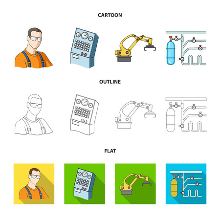 Machine tools and equipment factory icons in set collection.