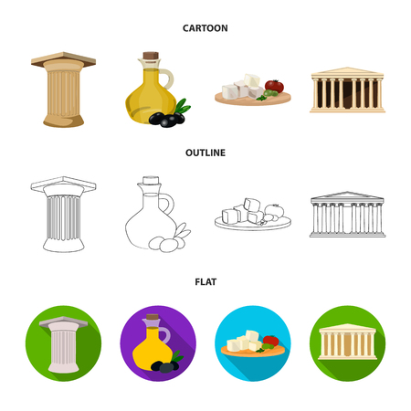 Greece set collection icons in cartoon, outline flat style vector symbol stock illustration web.