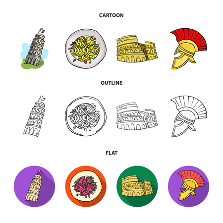 Italy country set collection icons in cartoon, outline flat style vector symbol stock illustration web.