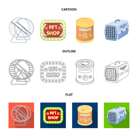 Container for carrying animals and other attributes of the zoo store. Pet shop set collection icons in cartoon,outline,flat style vector symbol stock illustration web.