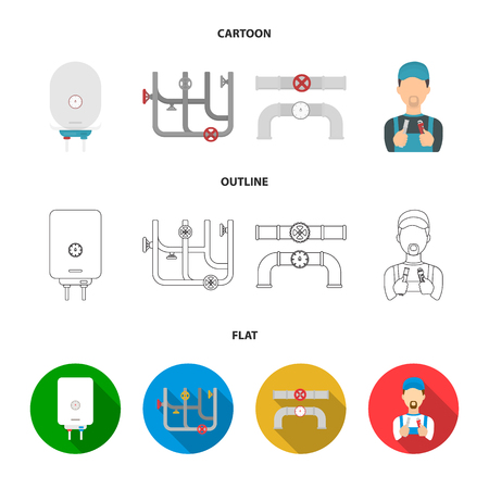 Boiler, plumber, ventils and pipes.Plumbing set collection icons in cartoon,outline,flat style vector symbol stock illustration web.