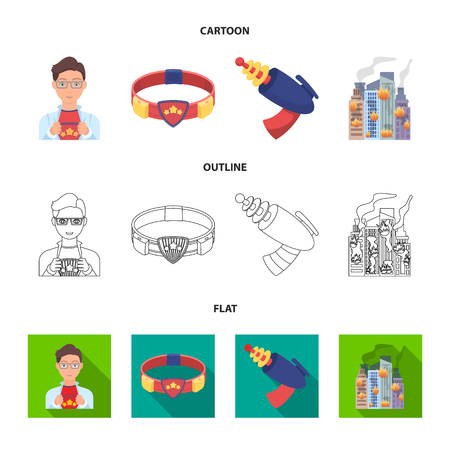 Man, young, glasses, and other web icon in cartoon,outline,flat style. Superhero, belt, gun icons in set collection. Illustration