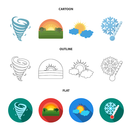 Tornado, sunrise, cloudiness, snow and frost. The weather set collection icons in cartoon,outline,flat style vector symbol stock illustration web. Ilustração