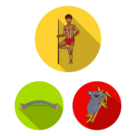 Country Australia flat icons in set collection for design.Travel and attractions vector symbol stock web illustration.