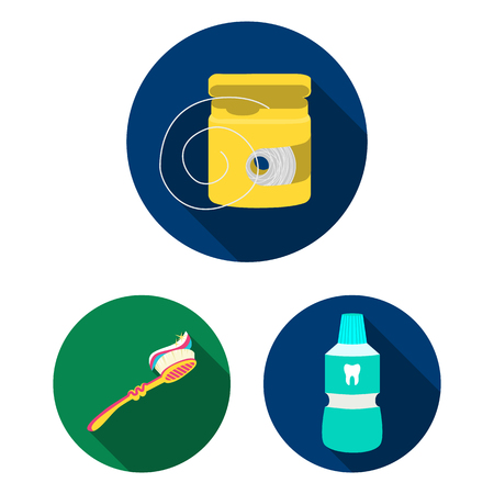 Dental care flat icons in set collection for design. Care of teeth vector symbol stock  illustration.