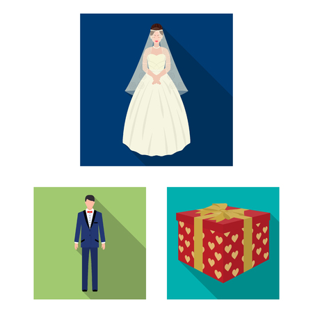 Wedding and Attributes flat icons in set collection for design.Newlyweds and Accessories vector symbol stock web illustration.
