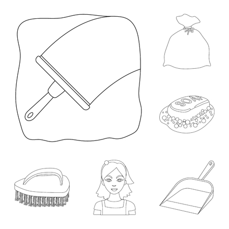Cleaning and maid outline icons in set collection for design. Equipment for cleaning vector symbol stock web illustration. Ilustração