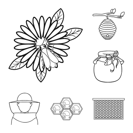 Apiary and beekeeping outline icons in set collection for design.Equipment and production of honey vector symbol stock web illustration. Vettoriali