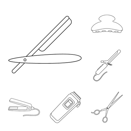 Hairdresser and tools outline icons in set collection for design.Profession hairdresser vector symbol stock web illustration.